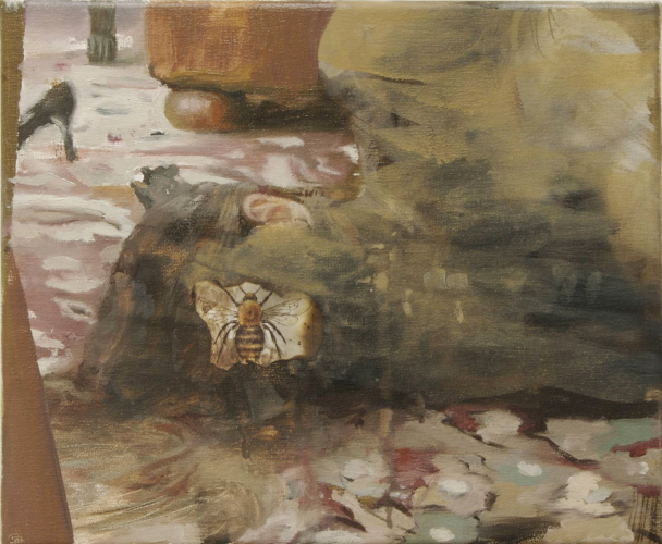 bees, 2009, oil, acrylic and paper on canvas, 23 x 28 cm